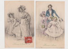 2 Cartes Fantaisie  ( Une Signée H. Schubert ).M.M.VIENNE Nr 342 /  Heureuse Année. Femme  , Homme Et Enfants - Schubert