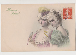 Carte Fantaisie  .M.M.VIENNE Nr 346 /  Heureuse Année. 2 Jeunes Femmes , Chapeau , Perruque , Oiseau - Non Classificati