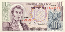 Colombia 10 Pesos Oro, P-407g (7.8.1980) - UNC - Kolumbien