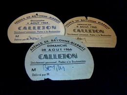 Vieux Papier Corrida Ticket Badge Callejon Arènes De Biarritz _Bayonne 3 Différents Aout 1964/65/66 - Biglietti D'ingresso