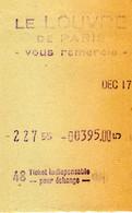 Le Louvre De Paris Vous Remercie - 17 Décembre - Ticket Indispensable Pour L'échange ? Années 50 - Biglietti D'ingresso