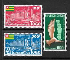 """TOGO : """"Anniversaire De L'Indépendance""""  Poste Aérienne  N° 34 à 36 ** (cote 19,00 €) - Togo (1960-...)"""