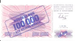 BOSNIE-HERZEGOVINE 100000 DINARA 1993 UNC P 34 A - Bosnie-Herzegovine