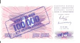 BOSNIE-HERZEGOVINE 100000 DINARA 1993 UNC P 34 B - Bosnie-Herzegovine