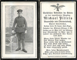 MEMENTO SOLDAT ALLEMAND  MICHAEL PILLRIS MORT LE 16 MAI 1917 WINTERBERG - Obituary Notices