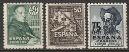 Spain 1947 Sc 749-51 Ed 1011-3 Sets MH (751 Disturbed Gum) - 1931-50 Unused Stamps
