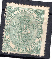 CUBA - (Occupation Espagnole) - 1872 - Télégraphe - N° 23 - 2 P. Vert - (Armoiries) - Telegrafo
