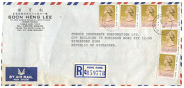 (X21) Letter Posted Regisered From Hong Kong To Singapore (1990) - Covers & Documents