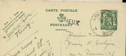 Entier . Obl. Ambulant: HERBESTHAL  ( BRUXELLES - BRUSSEL ) - 7 - Du 19/12/37 + Griffe De THEUX - Linear Postmarks