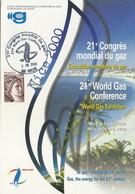 Cachet Commémoratif 21ème Congrès Mondial Du Gaz à Nice - 06/06/2000 - Gas