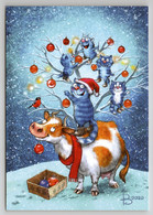 FUNNY BLUE CATS Decorate Christmas Tree COW Snow Winter By Zeniuk New Postcard - Non Classificati