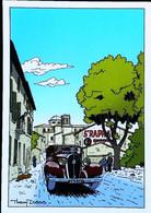 ► AUTOMOBILE  Vintage Berline Hotchkiss1936  - Direction AVIGNON  - Route Nationale 7   - Illustration Thierrry DUBOIS - Conches-en-Ouche