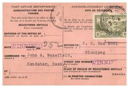 (X23) Canada - 1949 - Registered Article Notice - Otros