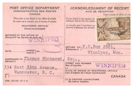 (X23) Canada - 1943 - Registered Article Notice - Otros