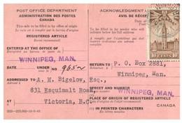 (X23) Canada - 1945 - Registered Article Notice - Otros