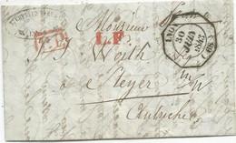 CACHET OCTOGONAL LYON 30 JUIN 1843 LETTRE + LF ROUGE + PP ROUGE POUR AUTRICHE - 1801-1848: Precursori XIX