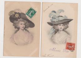 2 Cartes Fantaisie  M.M.VIENNE Nr 380/ Jeune Femme Avec Grand Chapeau - Non Classificati