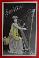 CPA 1907 Fantaisie / Femme - Harpe - Musique/ Sainte Cécile - Women