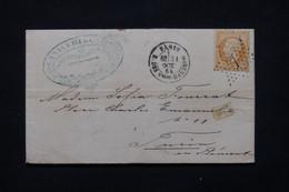FRANCE - Lettre De Paris Pour L'Italie En 1865, Affranchissement Napoléon 40ct, Oblitération étoile 7 - L 79366 - 1849-1876: Periodo Classico