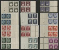 """N° 553 à 563 Tous En Bloc De 4 COTE 240 € Neufs ** (MNH) Série De 12 Valeurs """"ARMOIRIES DES VILLES"""". Voir Description - 1941-66 Wappen"""
