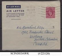 GREAT BRITAIN - 1949 6d KGVI AIR MAIL AIR LETTER TO CANADA - Postwaardestukken