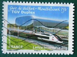 1010 France 2014 Oblitéré Autoadhésif La Grande épopée Des Voyages En Train TGV Duplex Gare De  Belfort Montbéliard - Autoadesivi