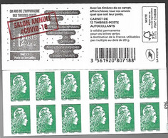 """France 2020 - Carnet - Marianne L'Engagée (lettre Verte) """"Salon Annulé COVID-19"""" ** - Unused Stamps"""