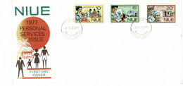 NIUE - FDC - 1977 - Allaitement - Clinique Dentaire - Soins Des Personnes âgées - Niue