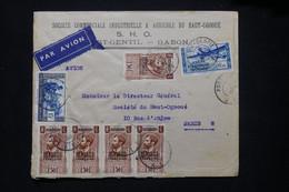 A.E.F. - Enveloppe Commerciale De Port Gentil Pour Paris En 1938 Par Avion, Voir Cachets De Propagande Au Dos - L 79417 - Lettres & Documents