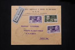 A.E.F. - Enveloppe Commerciale De Libreville Pour Paris Par Avion Avec Cachet De Contrôle Postal - L 79419 - Lettres & Documents