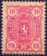 FINLAND 1889-1900 10 Pen Rood Wapentype Drie Cijfers Tanding 14x12 PF-MNH - Nuovi