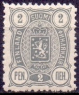 FINLAND 1889-1900 2 Pen Grijs Wapentype Drie Cijfers Tanding 14x12 PF-MNH - Nuovi