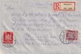 ALLEMAGNE 1924 LETTRE RECOMMANDEE DE OBERSTDORF AVEC CACHET ARRIVEE MÜNCHEN - Brieven En Documenten