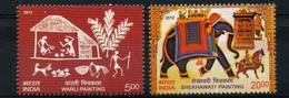 India 2012 MNH 2v, Elephants, Shekhawati, Warli, Traditional Painting - Other