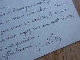 Pierre LOTI (1850-1923) Académie FRANCAISE. WW1. Armée De L'Est. 1916/ Autographe à Jane CATULLE MENDES - Autografi
