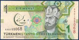 TURKMENISTAN 1 MANAT P-NEW COMMEMORATIVE 5th Asian Indoor And Martial Games FIRST SATELLITE TURKMEN ALEM 52 E 2017 UNC - Turkmenistan