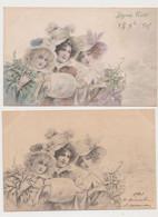 2 Cartes Fantaisie   M.M.VIENNE / 3 Jeunes Femmes Brune , Blonde , Rousse , Gui , Houx - Non Classificati