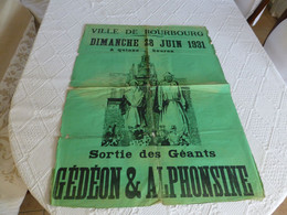 BOURBOURG 286 Juin 1938, Rare Affiche Cortège Carnavalesque, Ref 189 - Plakate