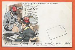 CPA Illustrée Par GUILLAUME - Au Bureau L'arrivée à La Portion Centrale Du Capitaine - Carte De Visite - Guillaume