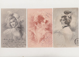 3 Cartes Fantaisie  M.M.VIENNE / 3 Jolies Jeunes Femmes - Non Classificati