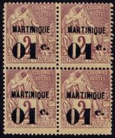 ✔️ Martinique 1888/1891 - Dubois Avec Surcharge - Yv. 7 ** MNH En Bloc De 4 - Luxe Neuf Sans Charniere ! - Ongebruikt
