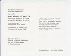 Doodsprentje - Frans De Becker - Oudstrijder - Wespelaar 1919 / Rijmenam 1986 - Todesanzeige