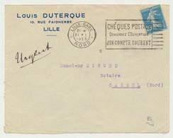 Enveloppe Timbrée Semeuse 25c Lille Gare 1925 Et Flamme Chèques Postaux.... - Lettres & Documents