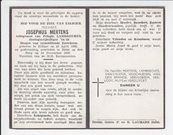 Doodsprentje - Josephus Mertens - Oorlogsvrijwilliger - Rillaar 1895 / Heist-op-den-Berg 1953 - Obituary Notices