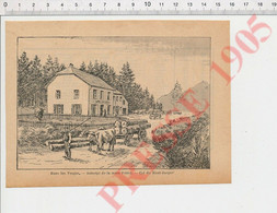 Gravure 1905 Col Du Haut-Jacques Auberge De La Mère Poirot Vosges Débardage Transport Bois Attelage Boeufs Forêt CHV49 - Unclassified
