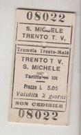 Biglietto Ticket Buillet Tramvia Trento Male' - Trento / S. Michele Regno 1942 - Europa