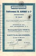Kapitaalsaandeel Aan Drager Van 1000 Franken - Etablissement FR. Rombaut & Cie - Breiwerkfabriek Te Aalst - AALST 1930. - Textil