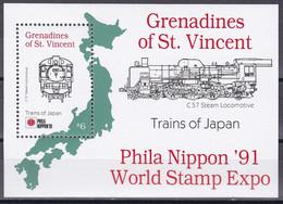 St. Vincent Grenadinen 1991 - Mi.Nr. Block 77 - Postfrisch MNH - Eisenbahnen Railways Lokomotiven Locomotives - Trains