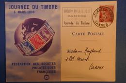 387 FRANCE CARTE 1930 POUR CANNES BD CARNOT JOURNEE TIMBRE OBLITERATION PLAISANTE - Lettres & Documents