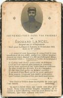 MEMENTO EDOUARD LANCEL MORT POUR LA FRANCE A TAHURE LE 13 OCTOBRE 1915  RGT 51e INFANTERIE - Avvisi Di Necrologio
